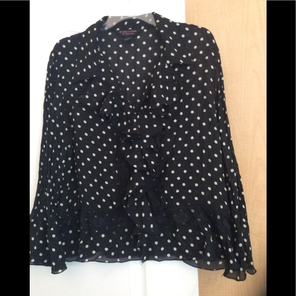 3986a3408f36f Signature by Robbie Bee Tops | Black With White Dots Sheer Women Top ...
